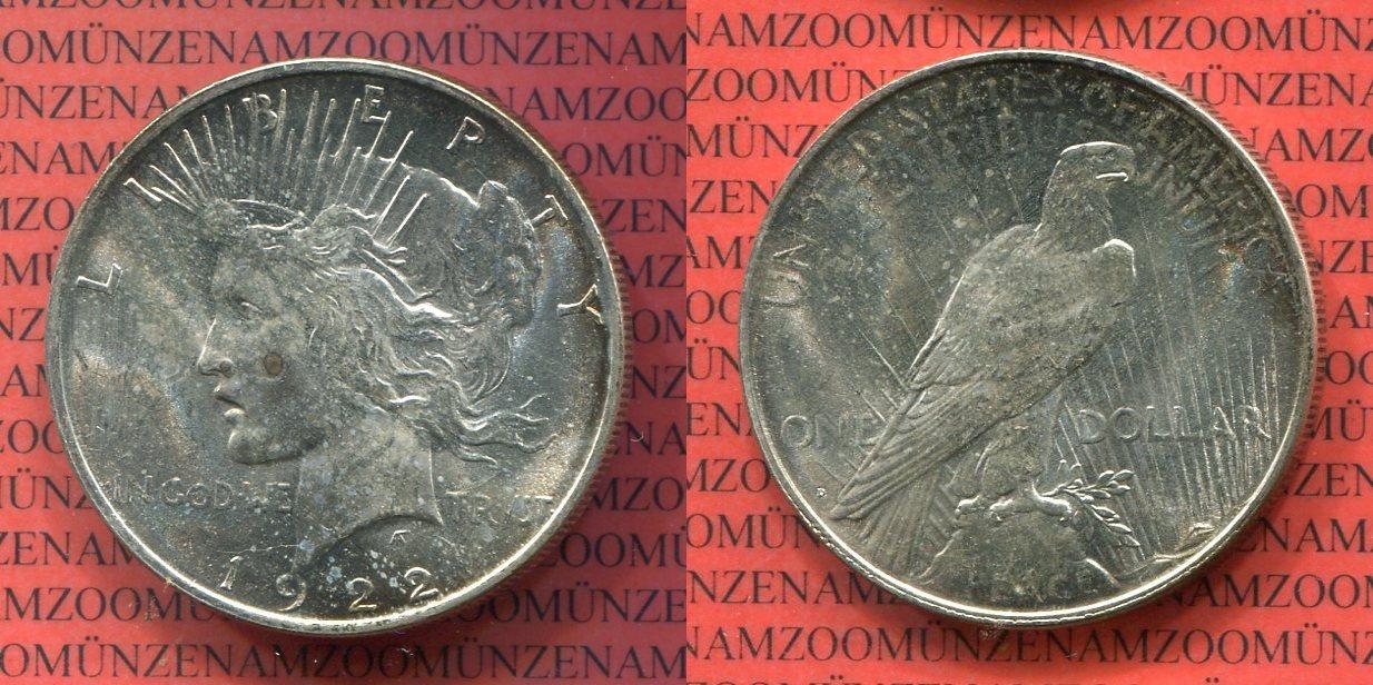 1 Dollar Silbermünze 1922 Usa Peace Typ
