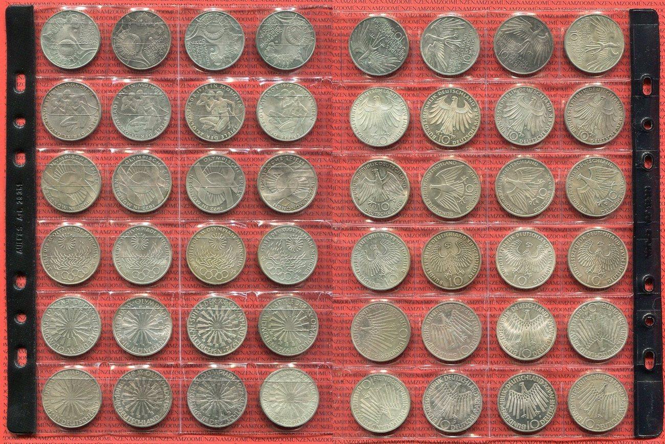 24 X 10 Dm Silbermünzen 1972 Bundesrepublik Deutschland Olympische