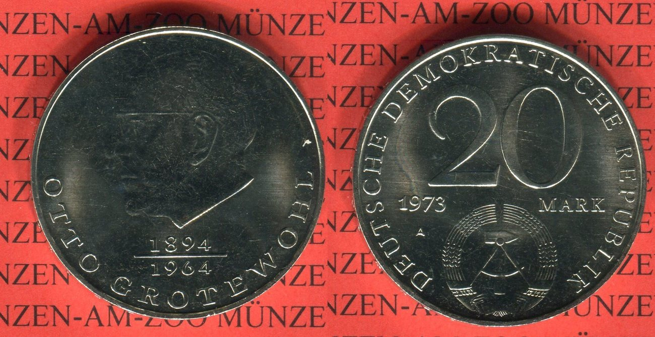 20 Mark 1973 Ddr Gedenkmünze Otto Grotewohl Export Ma Shops