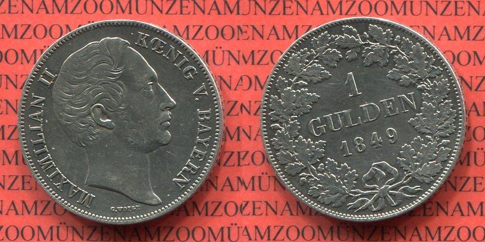 1 Gulden 1849 Bayern Maximilian Ii Koenig Von Bayern Ss Gereinigt