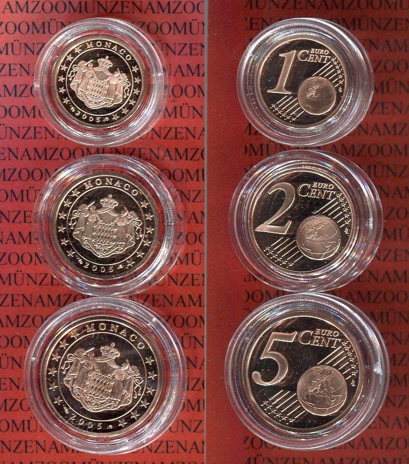 Kursmünzensatz 1 2 Und 5 Cent Pp 2005 Monaco 3 Münzen Polierte Platte Mit Kapseln