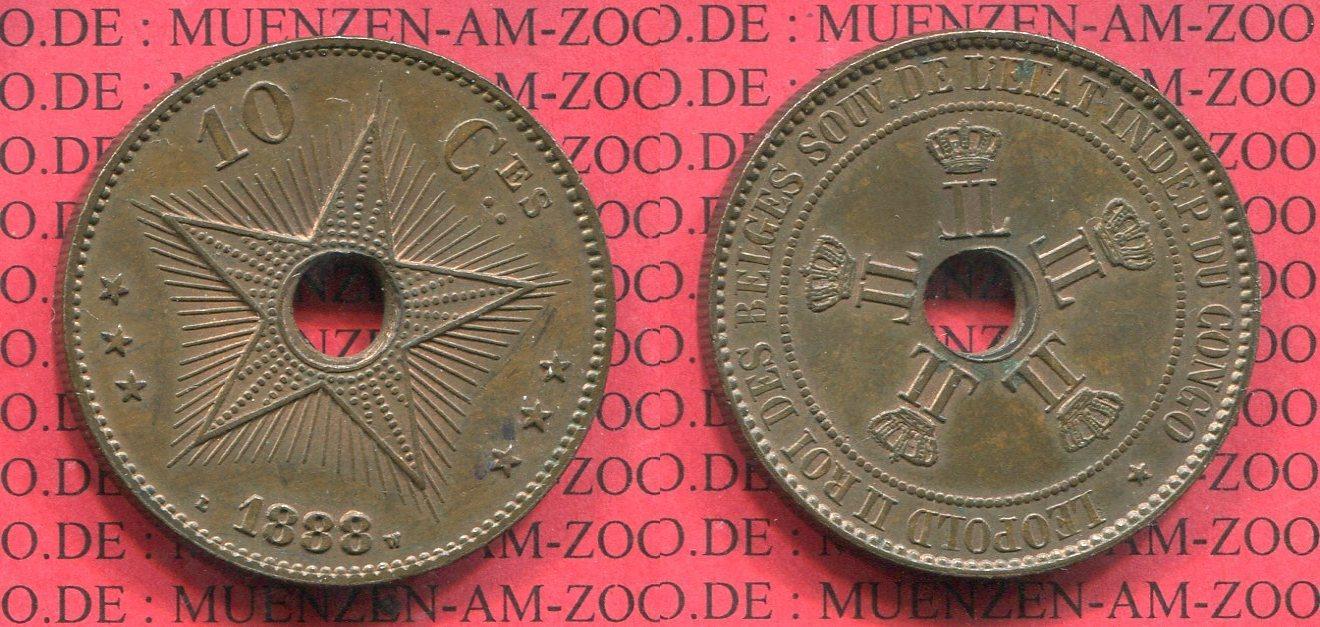 10 Cent 1888 Belgisch Kongo Congo Free State Freistaat Vz Patina