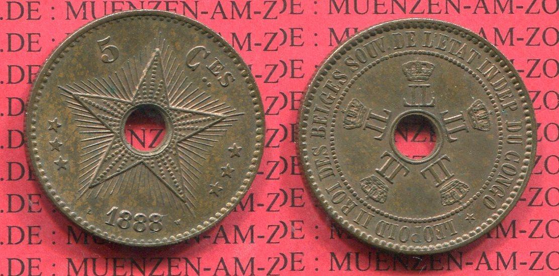 5 Cent 18887 Belgisch Kongo Congo Free State Freistaat Vz Patina