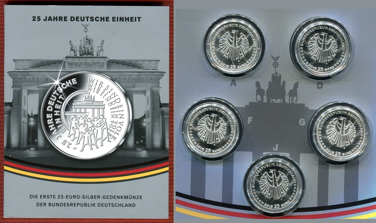 5 X 25 Euro Silbermünzen 2015 Bundesrepublik Deutschland 25 Jahre