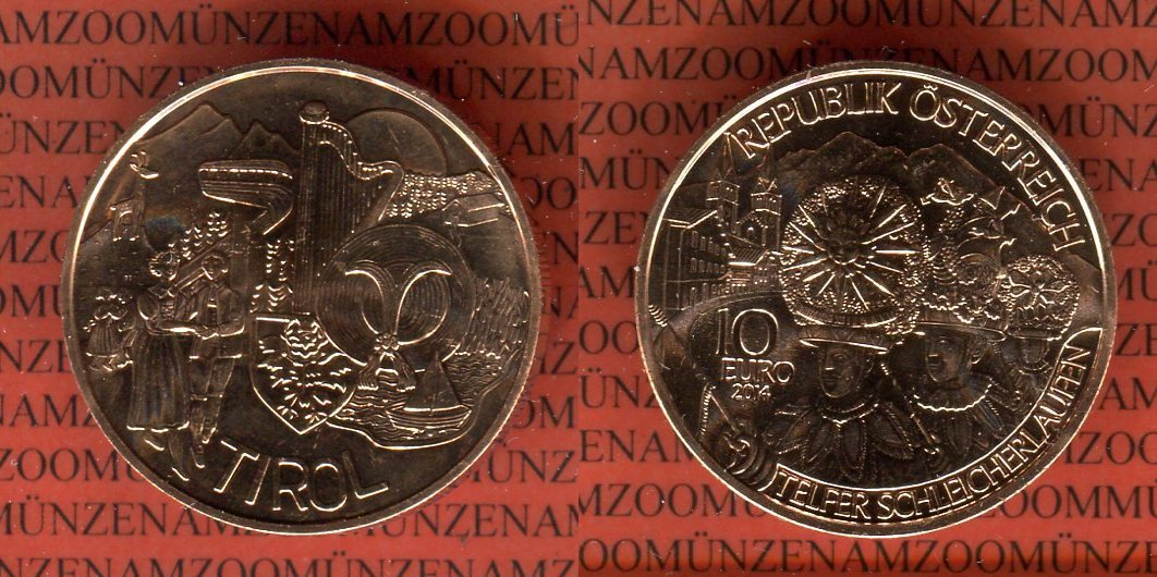 10 Euro Münze 2014 österreich Tirol Kupfermünze Bundesländer Serie