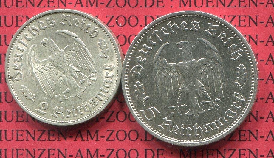 2 Und 5 Mark Schiller 1934 F Iii Reich Third Reich Friedrich