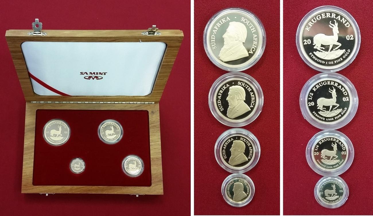 1/10, 1/4, 1/2 und 1 Unze Krügerrand Gold 2002 Südafrika Krügerand Set Pp