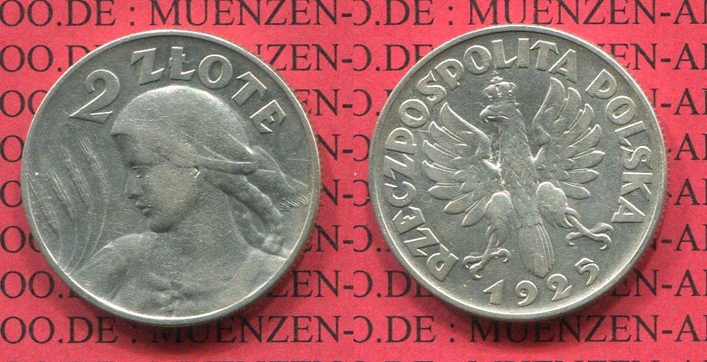 2 Zloty Silber 1925 Polen Poland Kein Punkt Nach Datum No Dot