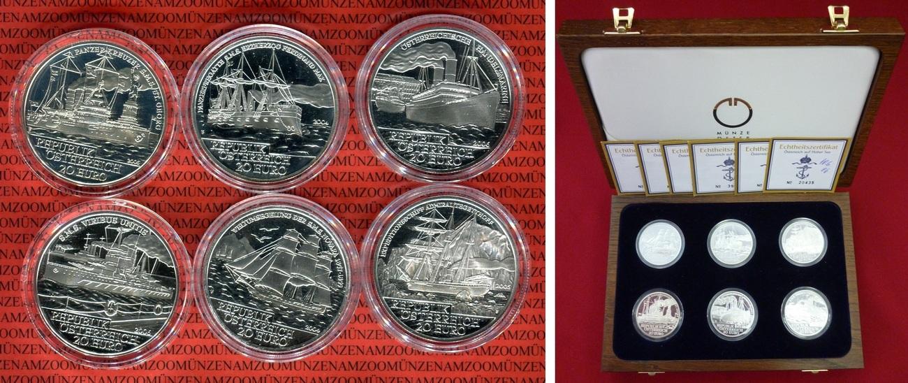 6 X 20 Euro Silbermünzen 2004 2006 österreich österreich Auf Hoher See Set Von Sechs Münzen Polierte Platte Mit Holzbox Zertifikaten