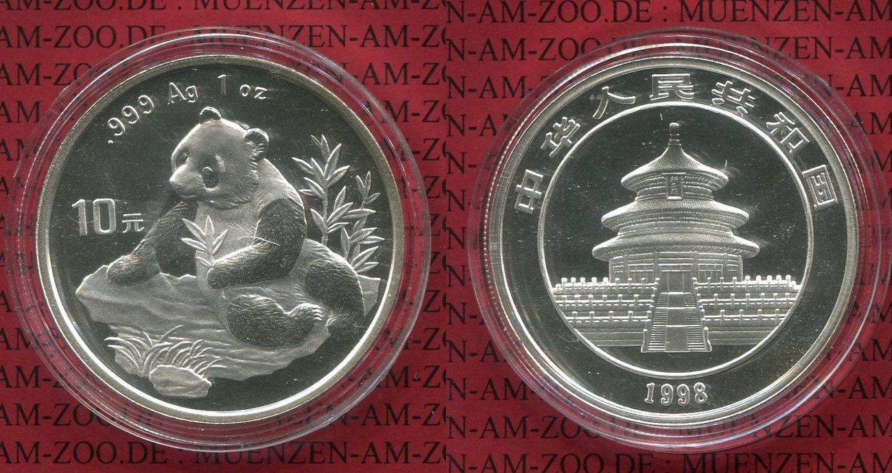 10 Yuan Panda 1 Unze Silber 1998 China Volksrepublik Prc 1 Unze