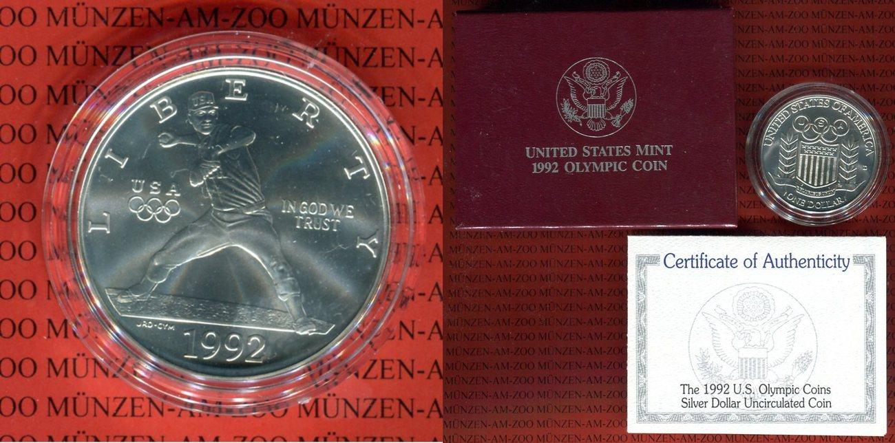 1 Dollar Silbermünze 1992 Usa 1992 Us Olympic Coin In Kapsel