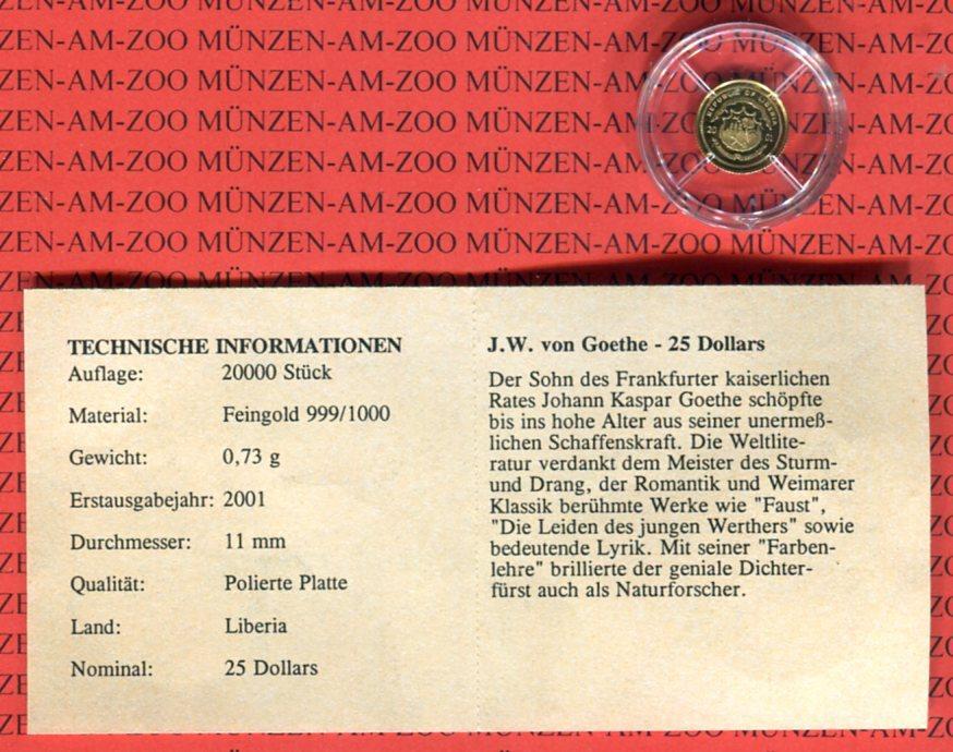 25 Dollars Minigoldmünze 2001 Liberia Johann Wolfgang Von Goethe Pp