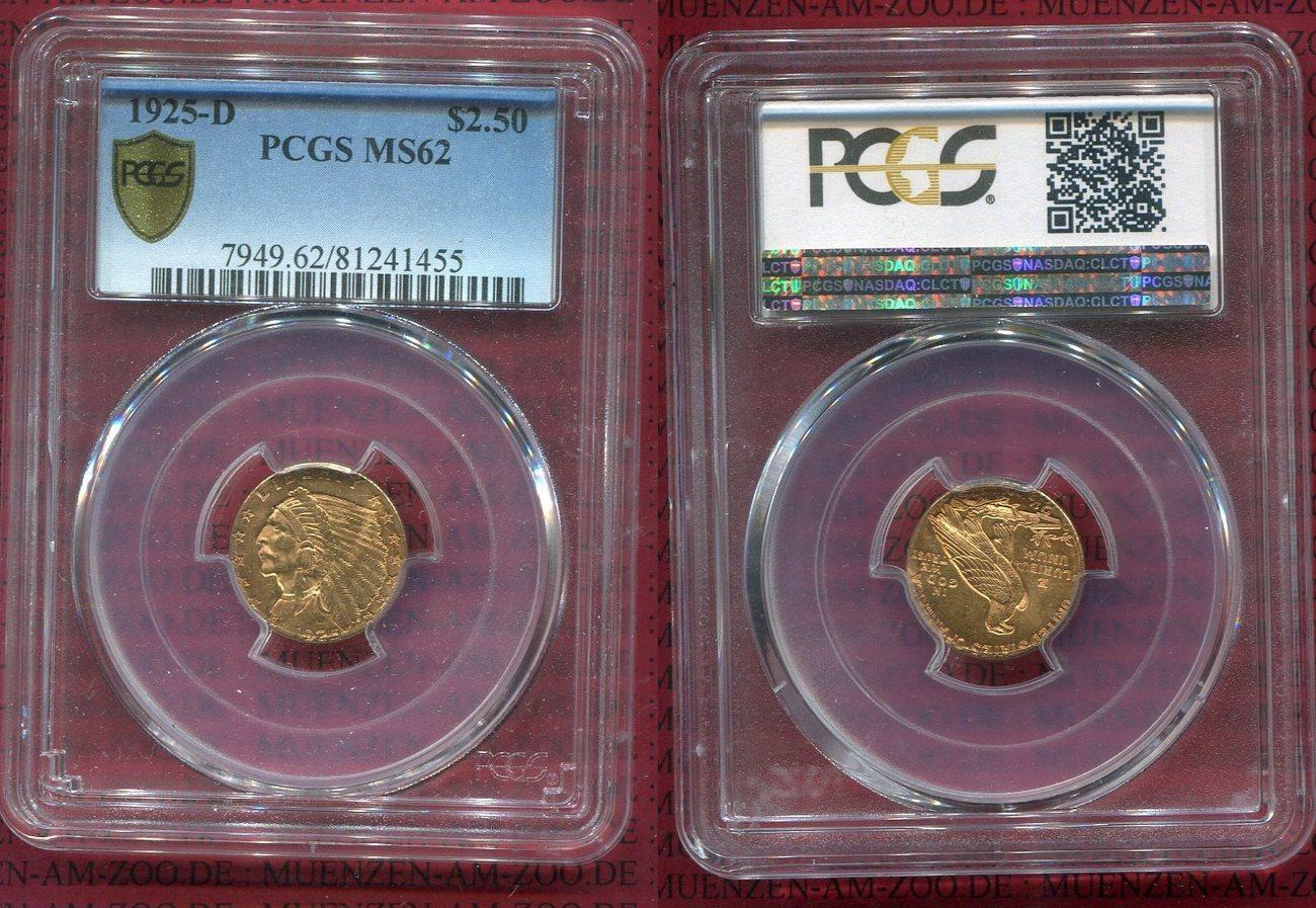2 12 Dollars Indian Head Goldmünze 1925 D Usa Gold Indian Head