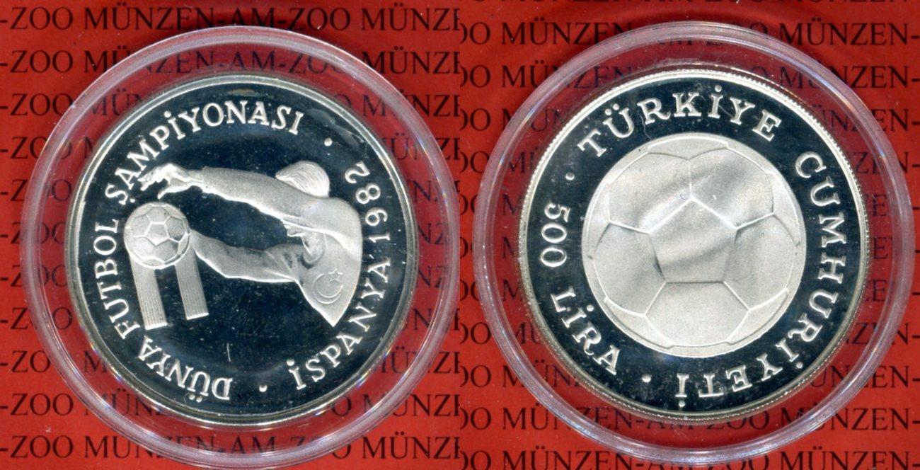 500 Lira 1982 Türkei Fifa Wm 1982 Spanien Spieler Pp In Kapsel