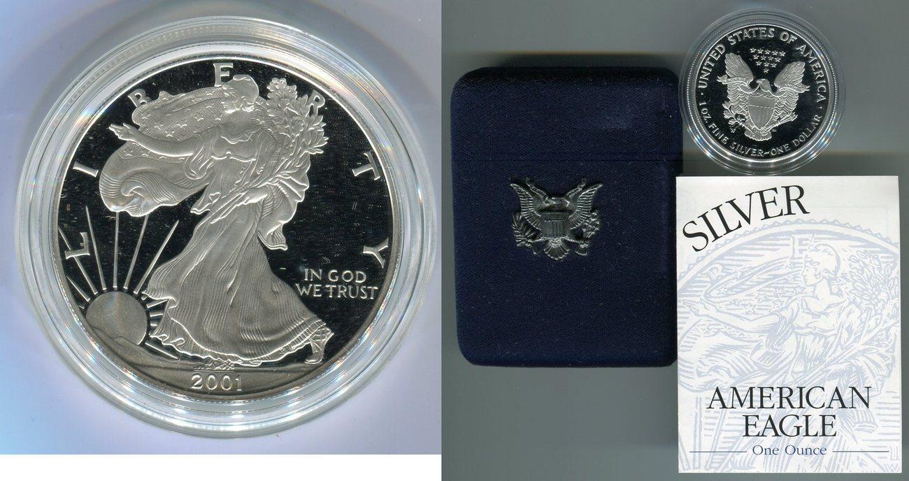 1 Dollar, Silbermünze 2001 Usa 1 Dollar Silver Eagle
