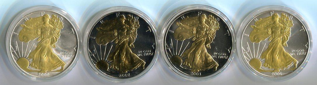 4 Dollar (4x1 Dollar) 2000-2003 Usa 1 Dollar : Liberty : (freiheit) teilvergoldet Silber