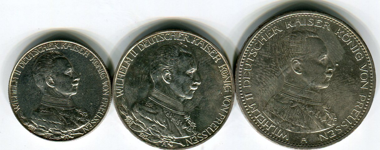2 3 Und 5 Mark Silbermünzen 1913 1914 Deutsches Reich Lot Wilhelm
