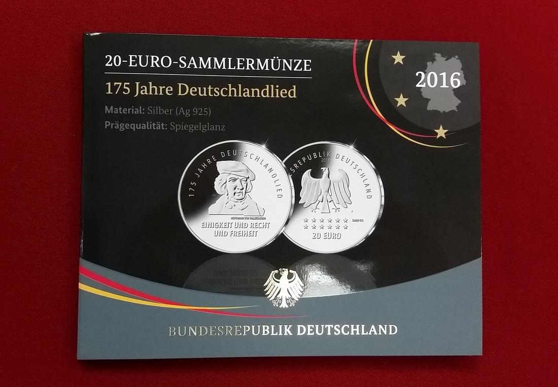 20 Euro Silbermünze 2016 Bundesrepublik Deutschland 175 Jahre