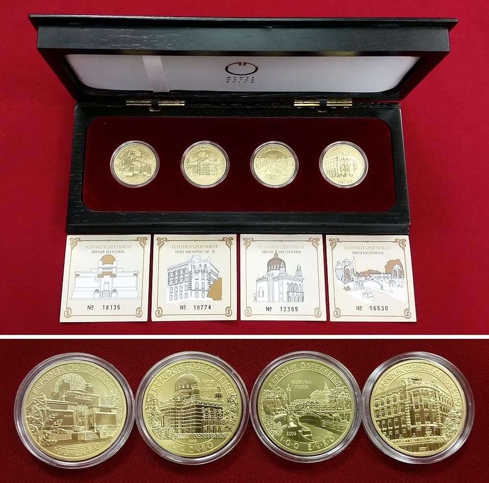 4 x 100 euro goldm nzen 2004 2007 sterreich der wiener jugendstil serie jeweils 16 gramm. Black Bedroom Furniture Sets. Home Design Ideas