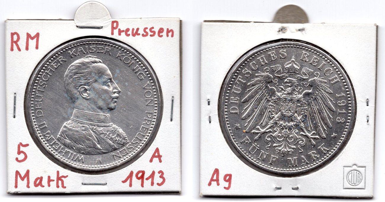 5 Mark 1913 Deutsches Reich Wilhelm Ii Deutscher Kaiser König Von