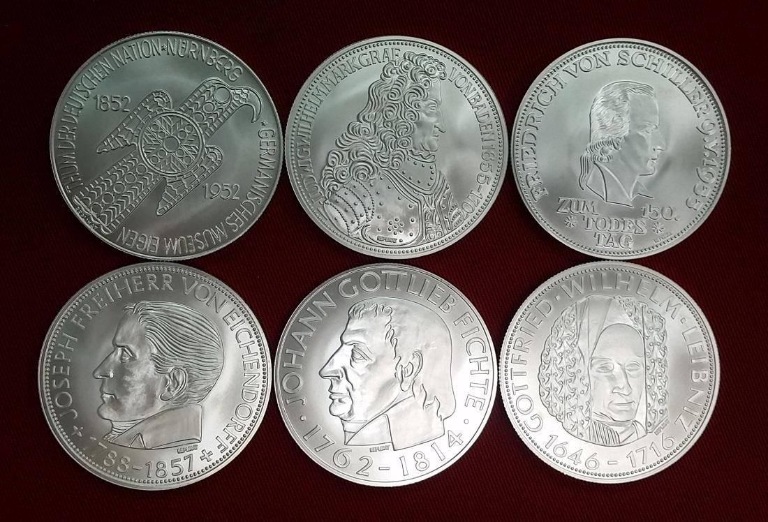 Nachprägungen 6 Unzen Silber 19921993 Brd Die Ersten Sechs 5 Dm