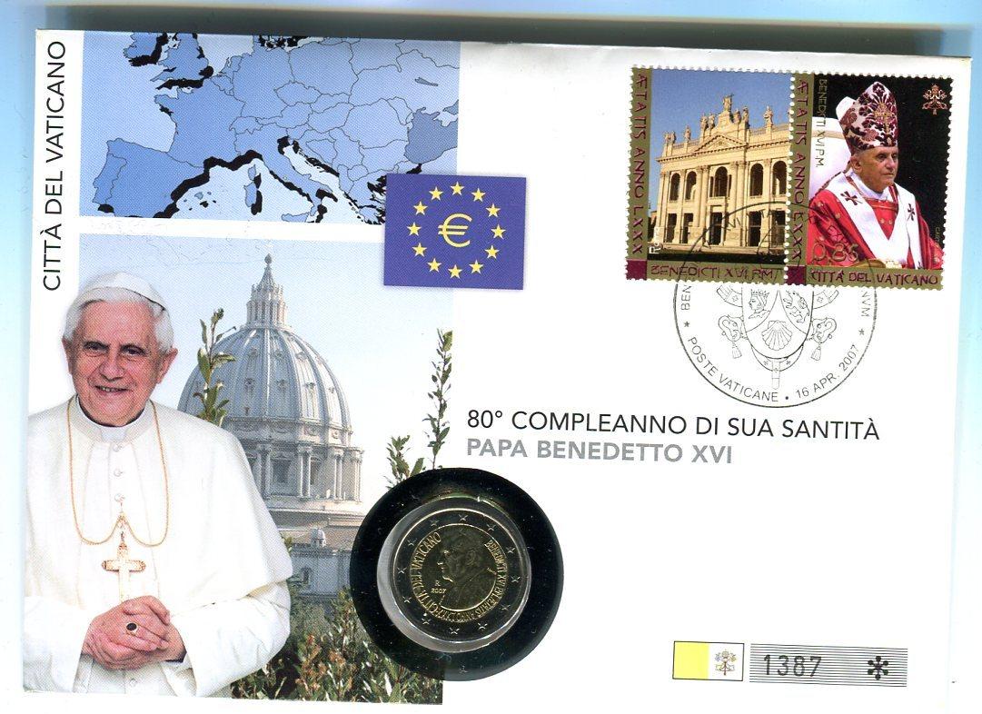 2 Euro Münze 2007 Vatikan 80 Geburtstag Von Papst Benedikt Bankfrisch Im Numisbrief