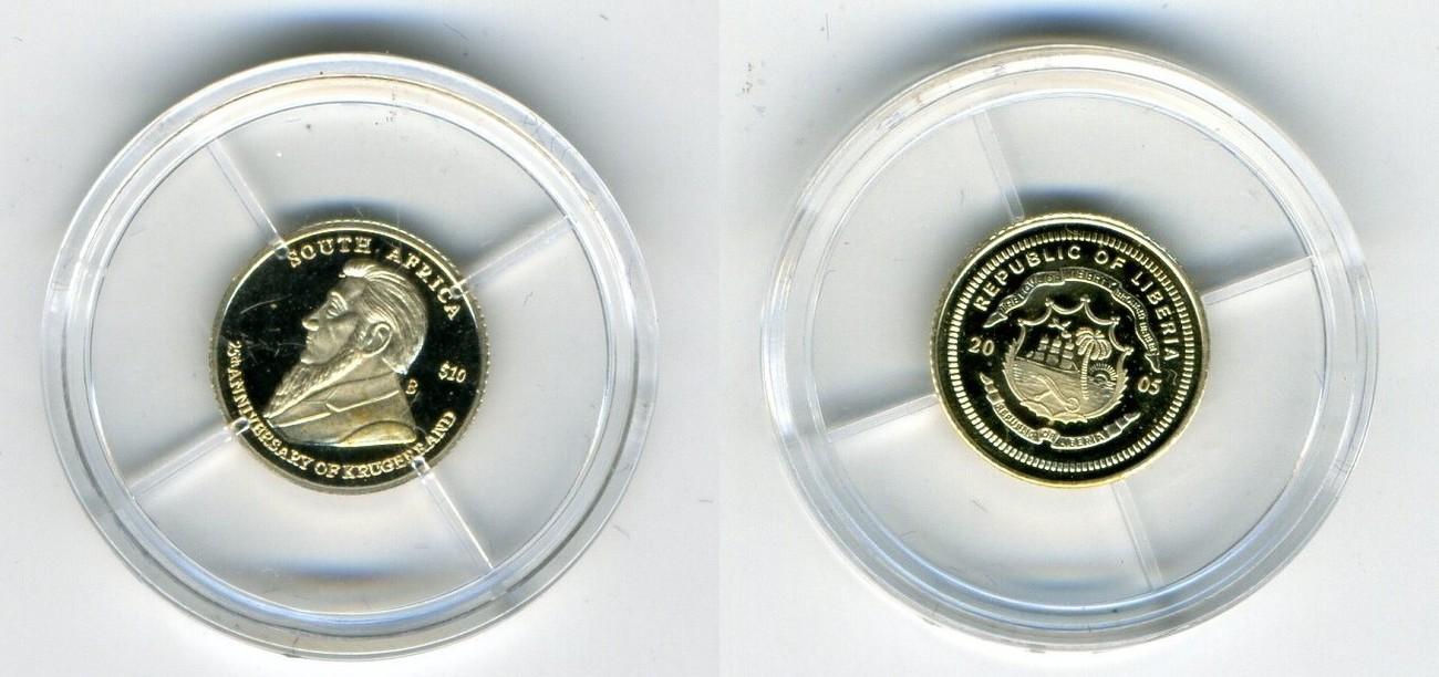 2005 Liberia 10 Dollar Goldmünze Pp 25 Jahrestag von Krugerrand