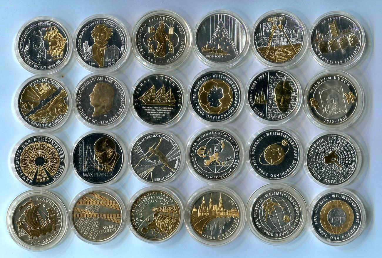 24 X 10 Euro Silber Versch Jahre Deutschland Lot Von 24 Münzen Mit