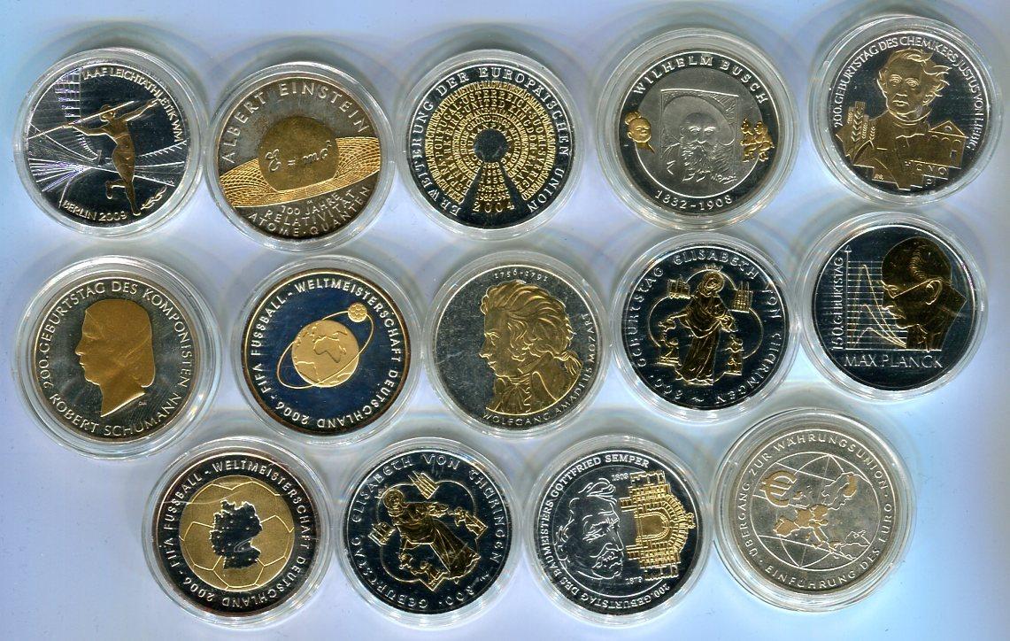 14 X 10 Euro Silber Versch Jahre Deutschland Lot Von 14 Münzen Mit