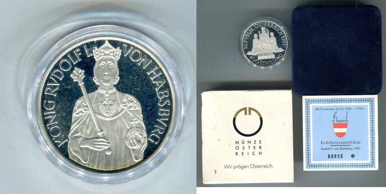 100 Schilling 1991 österreich Rudolf I Polierte Platte In Kapsel