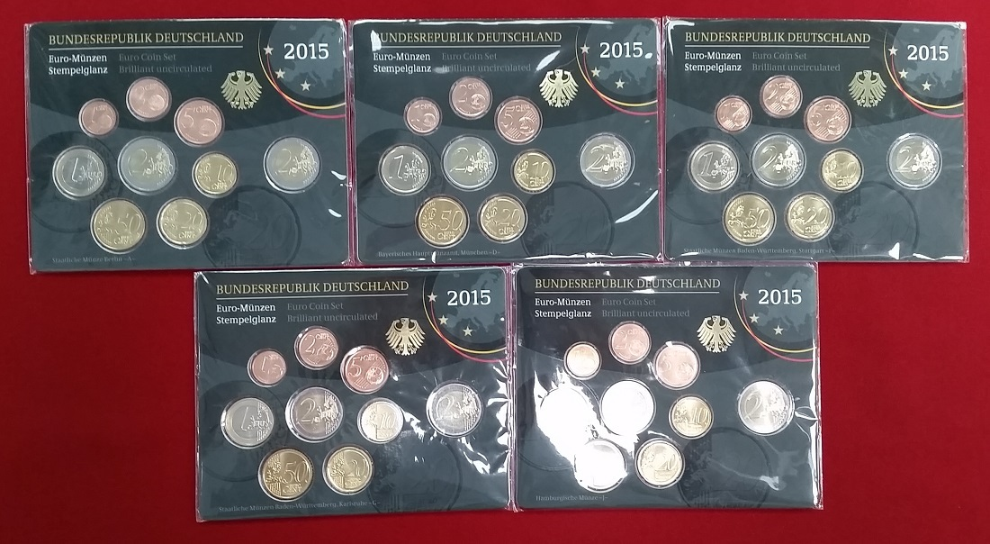 Euro Kursmünzensatz Offiziell 5 X 588 Euro 2015 Bundesrepublik