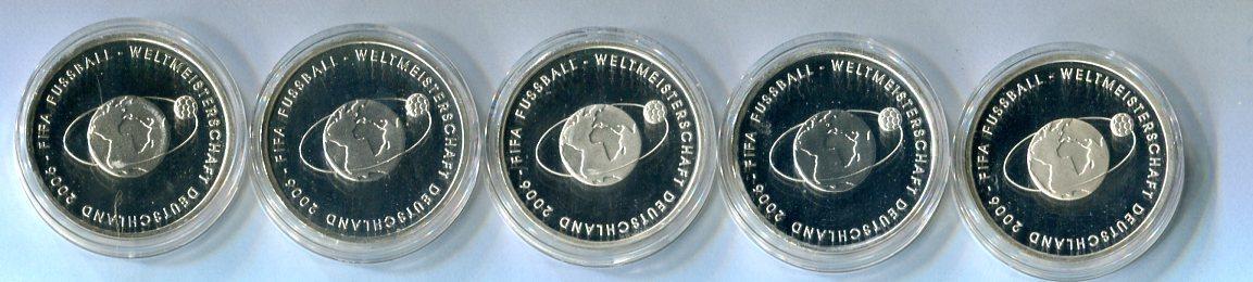 5 X 10 Euro Gedenkmünzen 2004 Deutschland Fußball Wm 2006