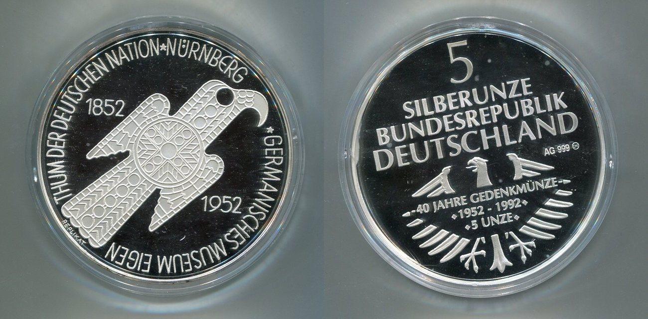 Silber Medaille 1992 Deutschland 40 Jahre 1 Gedenkmünze