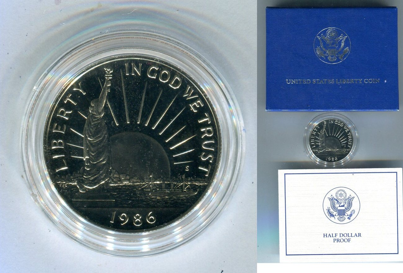 Half Dollar 1986 Usa 100 Jahre Freiheitsstatue Polierte Platte In