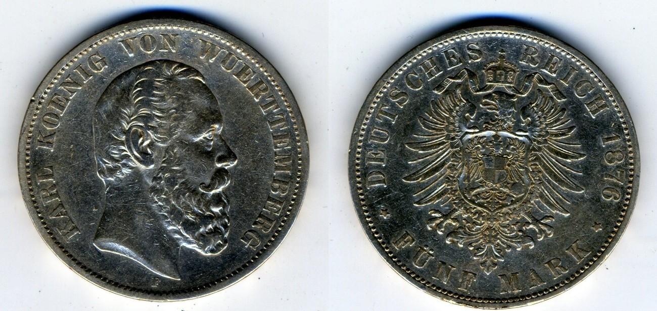 5 Mark 1876 F Kaiserreich Württemberg Karl König Von Württemberg Ss