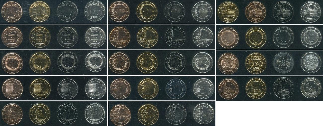 56 x 2 Euro Gedenkmünzen 2010 - 2014 Monaco, San Marino, Deutschland ...