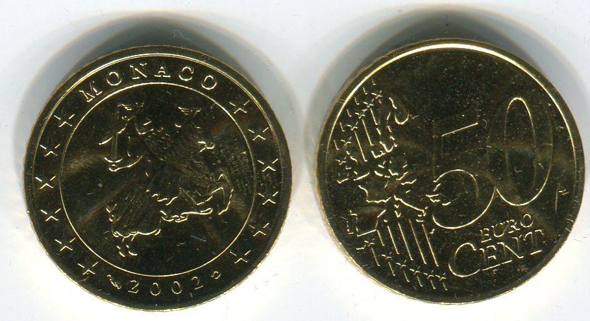 50 Cent Kursmünze 2002 Monaco Münze Bankfrisch Stempelglanz Aus