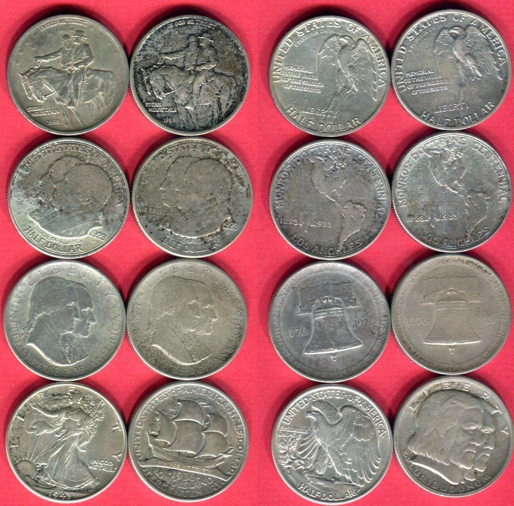 Half Dollar Lot 8 Münzen 1923 1936 Usa 8 X 12 Dollar Commorative Ss