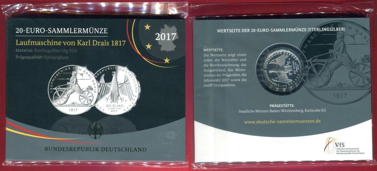 20 Euro Silbermünze 2017 G Bundesrepublik Deutschland Laufmaschine