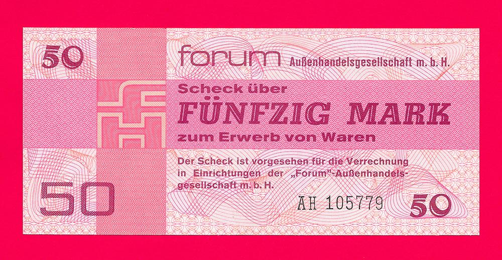 50 mark forum scheck 1979 deutsche demokratische republik. Black Bedroom Furniture Sets. Home Design Ideas