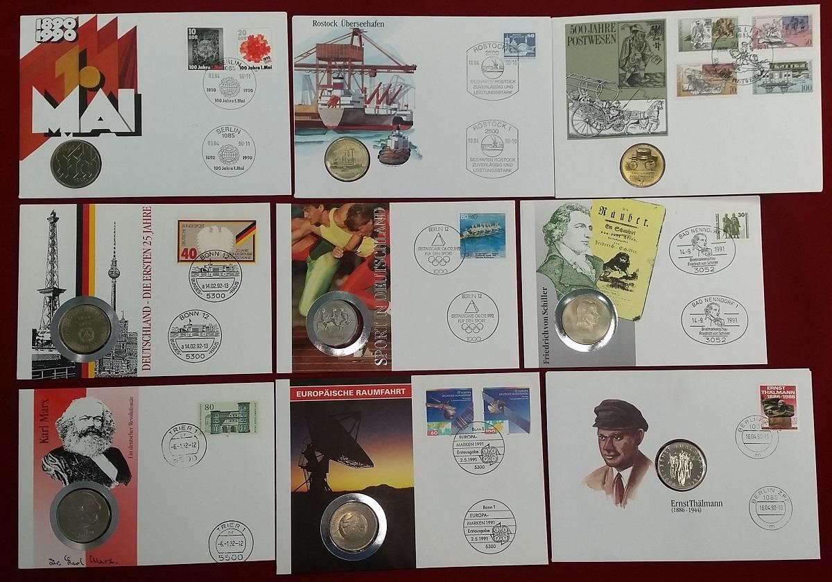 9 Münzen Versch Jahre Ddr Lot Von Neun Ddr Münzen In Numisbriefen
