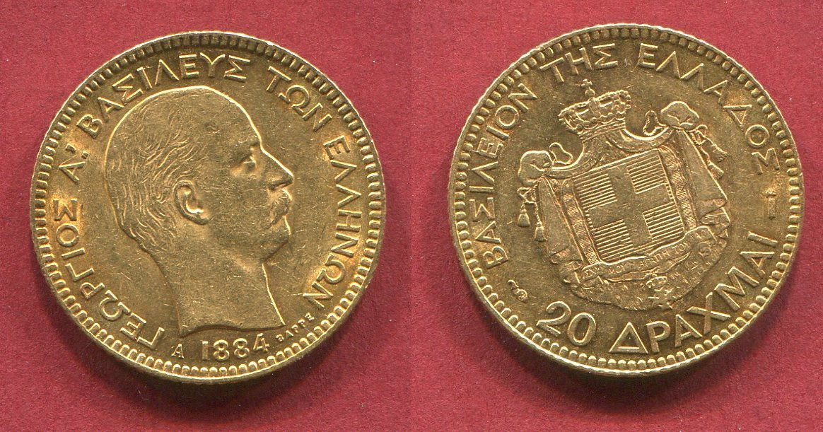 20 Drachmen Gold 1884 Griechenland Greece 1884 Georg Vz Prfr Ma Shops