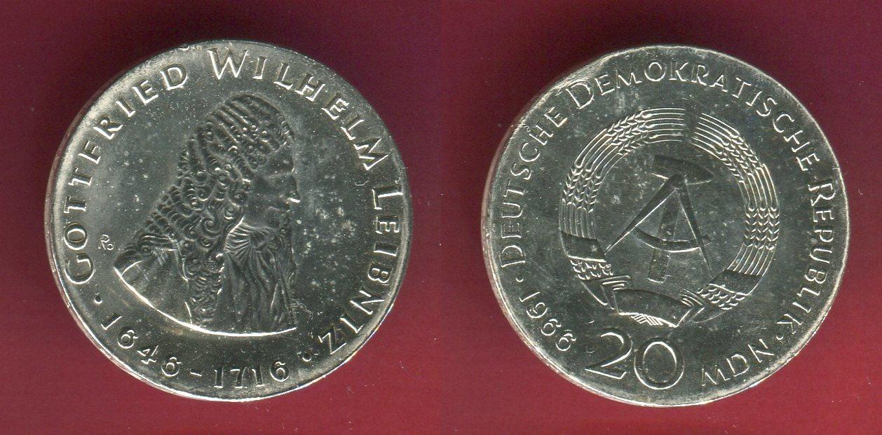 20 Mark Ddr Gedenkmünze 1966 Ddr Gw Leibniz Gedenkmünze 250