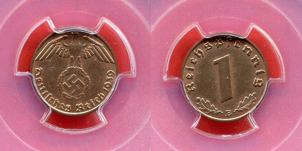 1 Pfennig 1939 B Germany Third Reich Deutsches Reich Drittes Reich