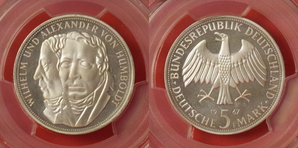 5 Mark 1967 F Germany Federal Rep Wilhelm Und Alexander Von Humboldt
