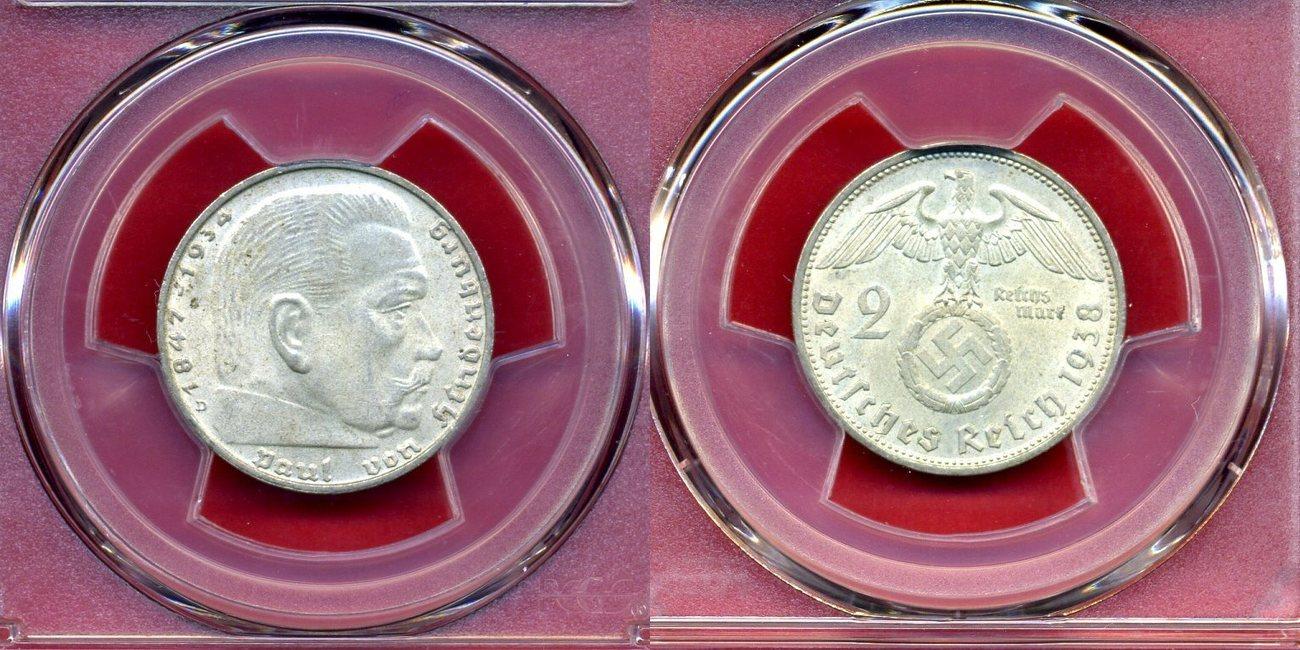 2 Reichsmark 1938 D Drittes Reich Paul Von Hindenburg Pcgs Ms64 Ma