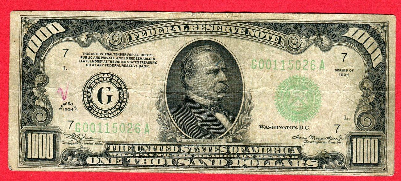 1000 Dollar 1934 USA Federal Reserve Bank Note - One Thousand Dollars Bill  - G00   26 A Gebraucht, Bild ansehen, Kl  Graffity