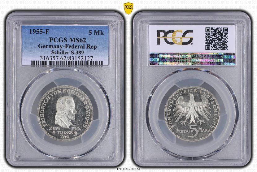 5 Dm 1955 F Germany Federal Rep Bundesrepublik Deutschland 150