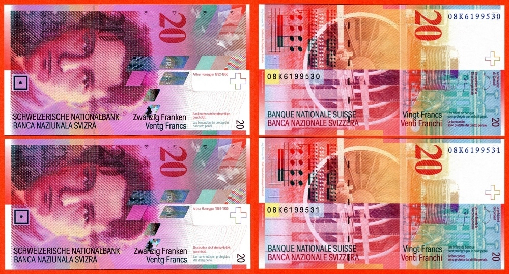 40 franken schweiz switzerland lot von zwei banknoten a 20 schweizer franken arthur honegger. Black Bedroom Furniture Sets. Home Design Ideas