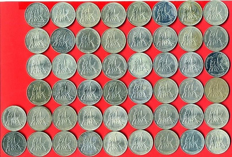 50 X 10 Mark Lot 1972 Ddr Gedenkmünzenlot Für Die Mahn Und